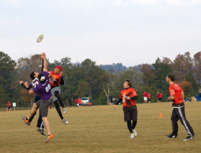 KNOXVILLE, TN - NOVEMBER 6: Ultimate Frisbee players reach for the disc at the Dave Baldwin Memorial Tournament, November 6, 2010, Victor Ashe Park, Knoxville, Tennesse
